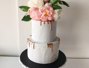 Marbled-Rose-Gold-Drip-Wedding-Cake-Melbourne-Morninton-Peninsula