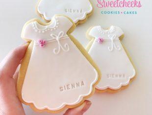 Custom Personalised Christening Dress Gown Cookies