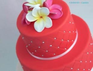 Frangipani red Same sex gay wedding cake