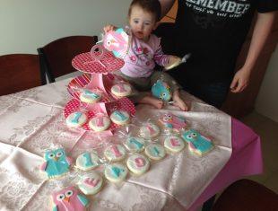 Children's birthday owl cookies delivered