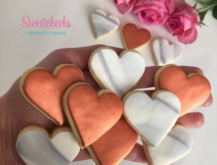 Marble and Copper Heart Cookies Same sex gay Wedding Cookies