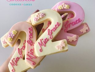 Mia Grace turns 2! She is Sarah Jane Personalised Cookies Shipped Australia wide