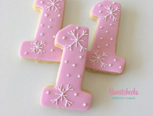 Custom 1 shaped Cookies Winter Onederland First Birthday