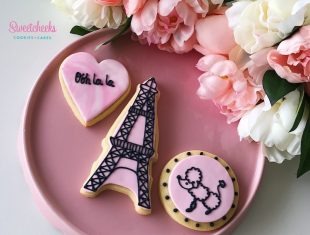Custom Cookies Paris Themed Party Shipped Australia wide Eiffel Tower Poodle and Ooh la la Cookies Melbourne