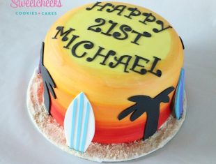 Beach Surfing Cake