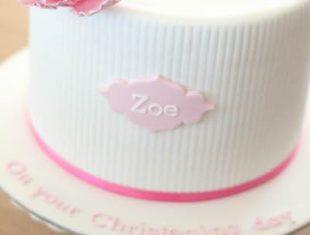 Christening cakes sugar peonies