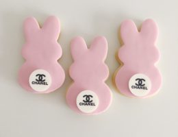 Easter Bunny Logo Cookies shipped Australia Wide, Pastel, Bright, Monochrome Cookies. For Chanel