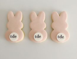 Easter Bunny Logo Cookies shipped Australia Wide, Pastel, Bright, Monochrome Cookies.For The Daily Edited tde